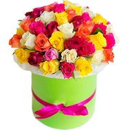 Large box of multi-colored roses - flowers and bouquets on salonroz.com
