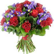 Букет из 15 роз и 10 ирисов - цветы и букеты на salonroz.com