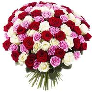 Bouquet of 101 multi-colored roses - flowers and bouquets on salonroz.com