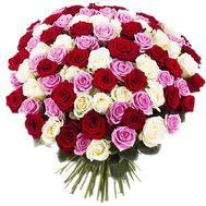 Букет из 101 разноцветной розы - цветы и букеты на salonroz.com