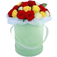 Composition of multi-colored roses in a box - flowers and bouquets on salonroz.com