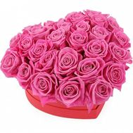 Heart box of pink roses - flowers and bouquets on salonroz.com