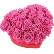 Коробка серце з рожевих троянд - цветы и букеты на salonroz.com