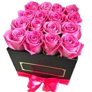 Pink roses in a square box - flowers and bouquets on salonroz.com