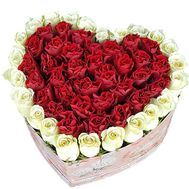 Roses in a big box in the shape of a heart - flowers and bouquets on salonroz.com