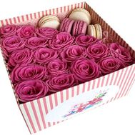 Roses in a square box with Macarons - flowers and bouquets on salonroz.com