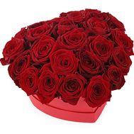 Серце з 25 червоних троянд в коробці серце - цветы и букеты на salonroz.com