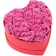 Серце з рожевих троянд в коробці - цветы и букеты на salonroz.com