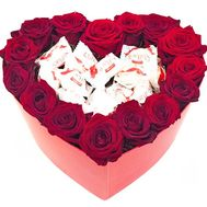 Roses and candies in a box heart - flowers and bouquets on salonroz.com