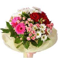 Букет с герберами и кустовыми розами - цветы и букеты на salonroz.com