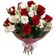 Bouquet of red roses and white eustomas - flowers and bouquets on salonroz.com