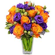 Bright bouquet of roses and eustomas - flowers and bouquets on salonroz.com