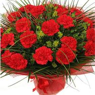 Bouquet of 35 red carnations with verdure - flowers and bouquets on salonroz.com