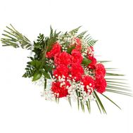 Bouquet of 11 red carnations with greens - flowers and bouquets on salonroz.com