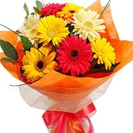 Bouquet of flowers of 9 different-colored gerberas with verdure - flowers and bouquets on salonroz.com