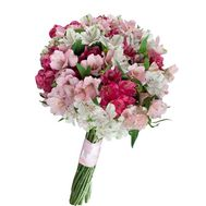 Bouquet of flowers from 25 multi-colored alstroemerias - flowers and bouquets on salonroz.com