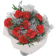 Bouquet of flowers from 9 red carnations with gypsophila - flowers and bouquets on salonroz.com