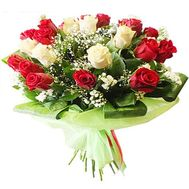 Bouquet of 21 red and white roses - flowers and bouquets on salonroz.com