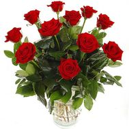 Bouquet of 11 red roses with verdure - flowers and bouquets on salonroz.com