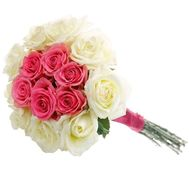 Bouquet of 15 white and pink roses - flowers and bouquets on salonroz.com