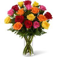 Букет из 19 разноцветных роз - цветы и букеты на salonroz.com