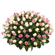 Basket of 125 multi-colored roses - flowers and bouquets on salonroz.com