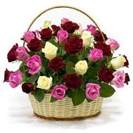 Basket of 35 multi-colored roses - flowers and bouquets on salonroz.com