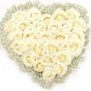 Heart of 31 white roses and gypsophila - flowers and bouquets on salonroz.com