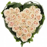 Heart of 25 white roses - flowers and bouquets on salonroz.com