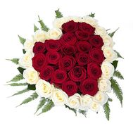 Heart of 39 red and white roses - flowers and bouquets on salonroz.com