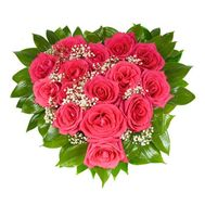 Heart of red roses and gypsophila - flowers and bouquets on salonroz.com