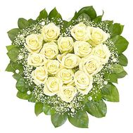 Heart of 17 white roses with gypsophila - flowers and bouquets on salonroz.com