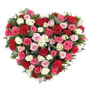 Heart of 51 different colored roses - flowers and bouquets on salonroz.com