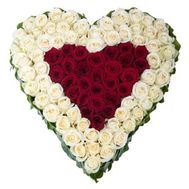 Heart of 101 red and white roses - flowers and bouquets on salonroz.com