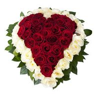 Heart of 51 white and red roses - flowers and bouquets on salonroz.com