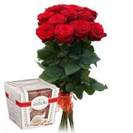 Bouquet of 11 roses and Raffaello - flowers and bouquets on salonroz.com