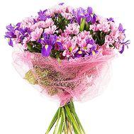 Букет из 10 хризантем и 9 ирисов - цветы и букеты на salonroz.com