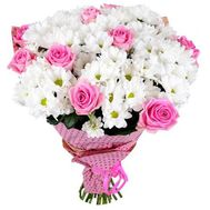 Bouquet of 9 roses and 12 chrysanthemums - flowers and bouquets on salonroz.com