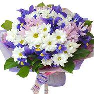 Букет из хризантем и ирисов - цветы и букеты на salonroz.com