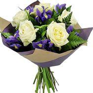 Букет із 5 троянд і 6 ірисів - цветы и букеты на salonroz.com