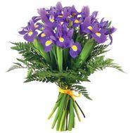 Букет из 25 ирисов с зеленью - цветы и букеты на salonroz.com