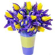 Букет из ирисов и желтых тюльпанов - цветы и букеты на salonroz.com