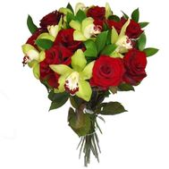Bouquet of 7 orchids and 10 roses - flowers and bouquets on salonroz.com