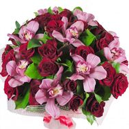 Bouquet of 9 orchids and 30 roses - flowers and bouquets on salonroz.com