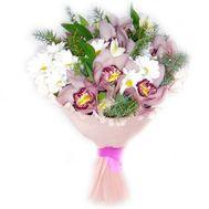 Букет із 7 орхідей і 4 хризантем - цветы и букеты на salonroz.com