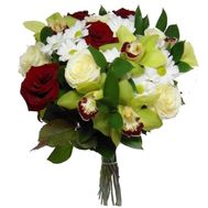 Bouquet of 5 orchids, 3 chrysanthemums and 9 roses - flowers and bouquets on salonroz.com
