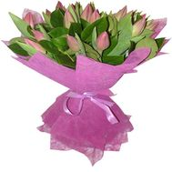 Букет із 17 рожевих тюльпанів - цветы и букеты на salonroz.com