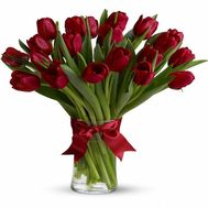 Букет із 21 червоних тюльпанів - цветы и букеты на salonroz.com