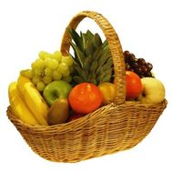 Fruit basket: pineapple, grapes, kiwi, pears, apples, oranges, bananas. - flowers and bouquets on salonroz.com