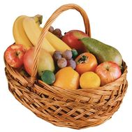 Fruit basket with grapes, bananas, pears, apples, oranges. - flowers and bouquets on salonroz.com